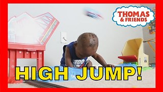 Amazing 1 Yr Old Baby Josiah Learns how to DUCK For Thomas the Train on Sky High Bridge Jump Set!