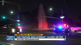 Vehicle hits hydrant, causes geyser