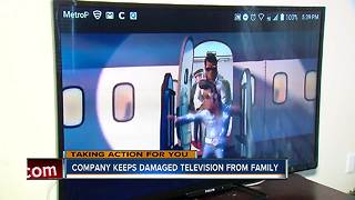 Company keeps damaged television from family