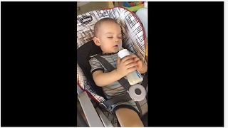 Baby is too tired to finish drinking bottle