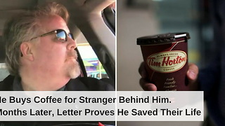 He Buys Coffee for Stranger Behind Him. Months Later, Letter Proves He Saved Their Life - Video
