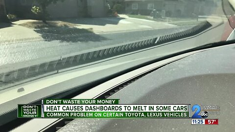 Heat causes dashboards to melt in some cars