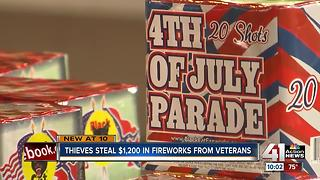 Thieves steal $1,200 in fireworks from veterans