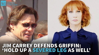 Jim Carrey Defends Griffin Hold Up A Severed Leg As Well - Video