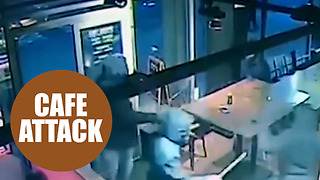 3 thugs were captured on CCTV bursting into a coffee shop and attacking customers - Video