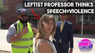 MUST WATCH: LEFTIST PROTESTER THINKS SPEECH IS VIOLENCE