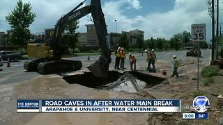 Water main break, sinkhole closes WB Arapahoe Rd. at University Blvd. - Video