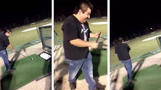 Hilarious moment golfer breaks his club during practice