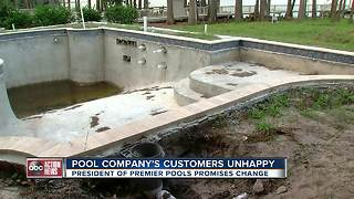 Customers say they are fed up months after spending a fortune on pools that sit unfinished