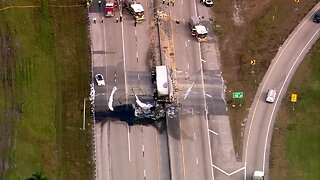 Tractor-trailer crashes, burns on Florida's Turnpike