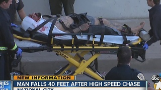 Man leads high-speed pursuit, injured after jumping from freeway overpass - Video