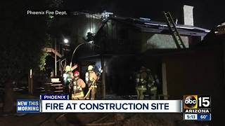 Large house under construction catches fire in Phoenix - Video