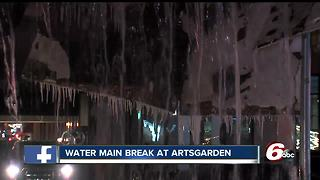 Water main break floods streets near Artsgarden - Video