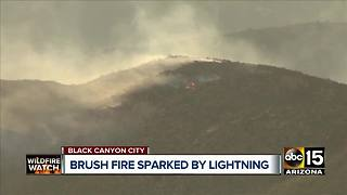 Brush fire sparked by lightning near Black Canyon City - Video