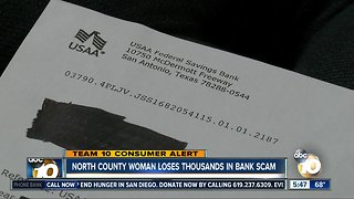 North County woman loses thousands in bank scam