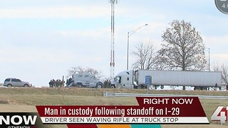 One in custody after gun threat at rest stop - Video