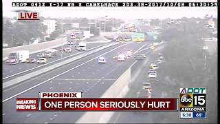 Person seriously hurt after crash on I-17 near Camelback - Video