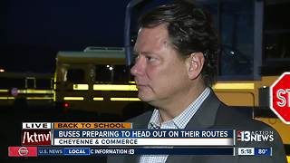Buses preparing to head out on first day of school in Clark County - Video