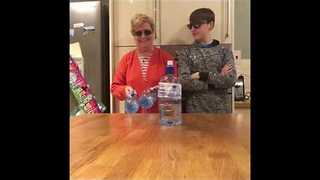 Granny vs Grandson in Bottle Flip Challenge - Video