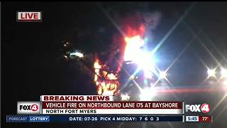 Vehicle fire near I75 at Bayshore rd - Video