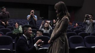"Epic Surprise Proposal During ""Film"" In French Cinema"