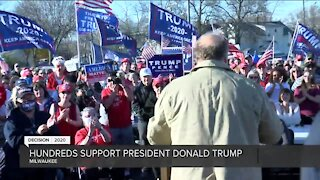 Supporters of President Trump gather at Serb Hall for support