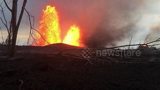 """Lava tornado"" swirls from volcanic fissure on Hawaii's Big Island - Video"