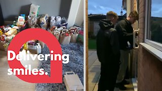 Thoughtful teenagers deliver care packages to elderly people in self-isolation