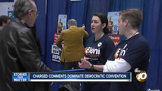 Charged comments dominate Democratic convention - Video