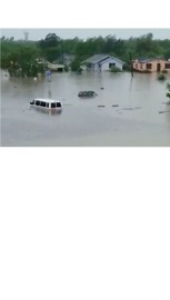 Roads and Buildings Submerged in Floodwater in Mercedes, Texas