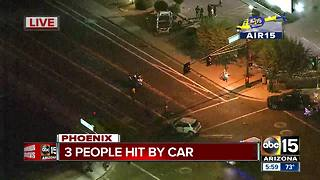 Three people hit by a car in Phoenix in serious condition - Video