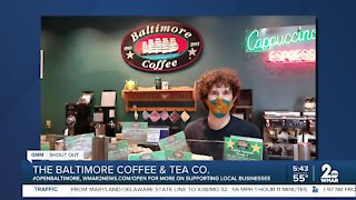 """The Baltimore Coffee and Tea Co. in Lutherville-Timonium says """"We're Open Baltimore!"""""""