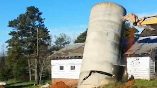 Demolition of silo goes horribly wrong!