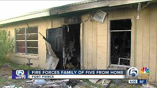 Fire forces family of five from their Fort Pierce home - Video