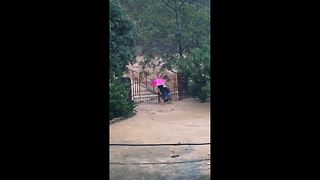 Moment men desperately try to stop floodwater from entering village - Video