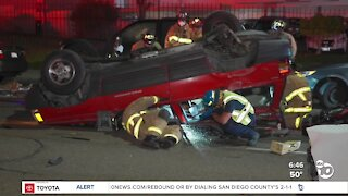 Driver trapped in wreckage after rollover crash in Clairemont