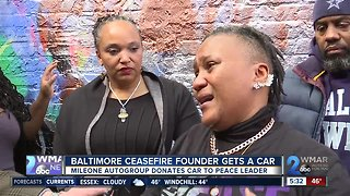 Dealership donates car to Baltimore Ceasefire founder