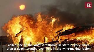 Firestorm burns through California wine country | Rare News - Video