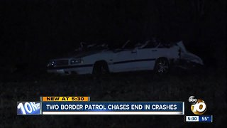 Two Border Patrol chases end in crashes