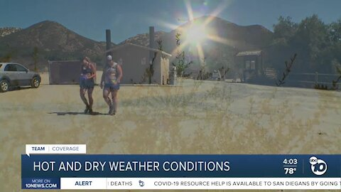 Hot and dry weather conditions
