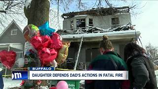 Daughter defends father after brother dies in fire - Video