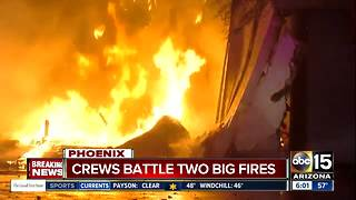 Fire crews battle two large fires in Phoenix on Friday morning - Video