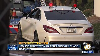 Woman arrested after leading police on chase