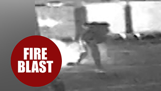 Shocking CCTV footage shows moment bungling burglar almost blew himself up - Video
