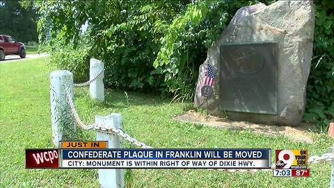 Confederate plaque in Franklin will be moved