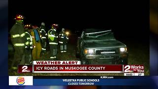 Muskogee County first responders busy with icy road crashes - Video