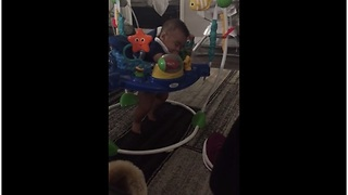Exhausted baby can't decide between sleeping or playing