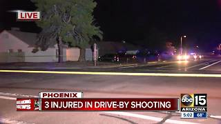 Three young adults in critical condition after drive-by shooting in west Phoenix - Video