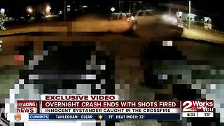 Crash ends with shots fired - Video
