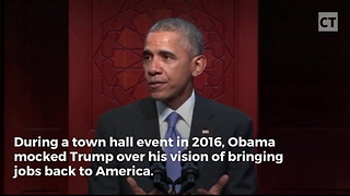 Video Surfaces Of Obama Mocking Trump Over Jobs Vision - Video